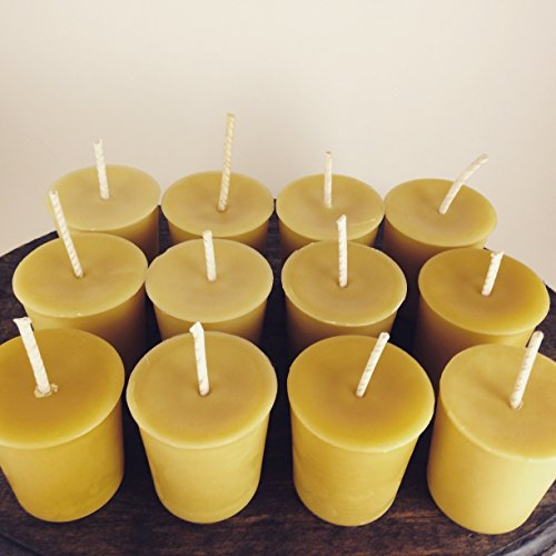 12 Hand Poured Unscented Lead Free Cotton Wick Tennessee Wicks Beeswax Votive Candles