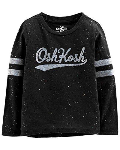 Osh Kosh Girls' Toddler Varsity Logo Tee, Black Glitter, 3T ()