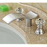 Deck Mounted Crystal Handles Bathroom Sink Faucet 3 Holes Basin Mixer Tap Chrome Brass