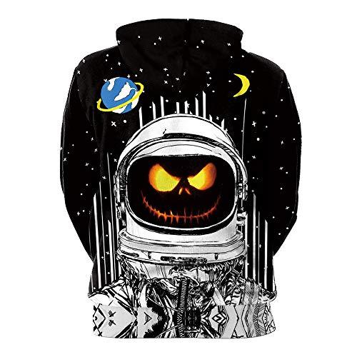 TWGONE Women Men Lovers Scary Halloween Pumpkin Grimace 3D Print Party Hoodie Top Sweatshirt(US-10/CN-M,Black) -
