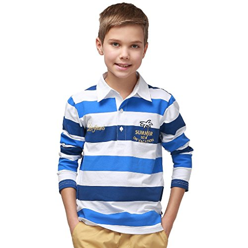 Cotton Long Sleeve Rugby Shirt - Leo&Lily Big Boys' Stripe Casual Cotton Polo Shirt Long Sleeve (7, Blue Stripe)
