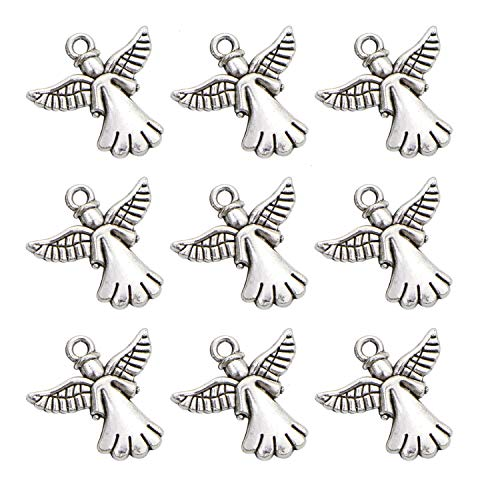 Monrocco 100Pcs Antique Silver Angel Charms Pendant for Jewelry Making and Crafting -