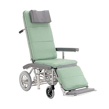 Silla de ruedas de enfermería completamente tumbada - Aluminio Plegable Respaldo alto Ancianos discapacitados Enfermera de