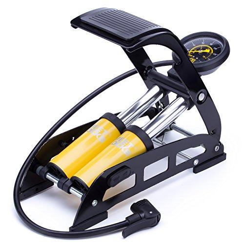 MEETLOCKS Bike Foot Pump,160PSI Aluminum Body Bike Floor Air Pump with Accurate Pressure Gauge Smart Valve Head for Presta,Schrader & Deutschland ()