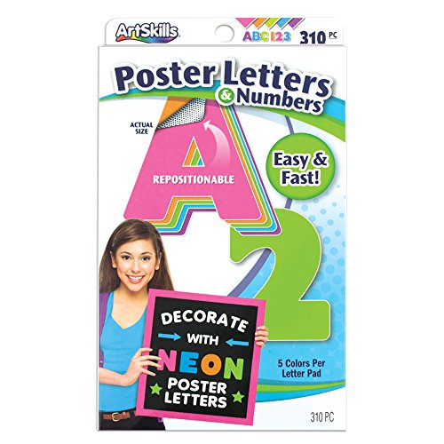 Poster Board 5 Posters (ArtSkills Poster Letters and Numbers, A-Z and 0-9, Neon Colors, Assorted, 310-Count (PA-1464))