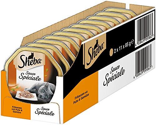 Sheba Sauce Spéciale – Edles Nassfutter für ausgewachsene Katzen – 22 x 85g Katzennahrung in der Schale, verschiedene…