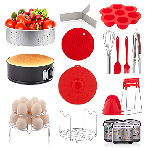 YIHONG 20 Pieces Pressure Cooker Accessories Set Compatible with Instant Pot 6 8 Qt - 2 Steamer Baskets- Non-stick Springform Pan - Stackable Egg Rack - Silicone Egg Bites Mold- with Free Ebook Recipe