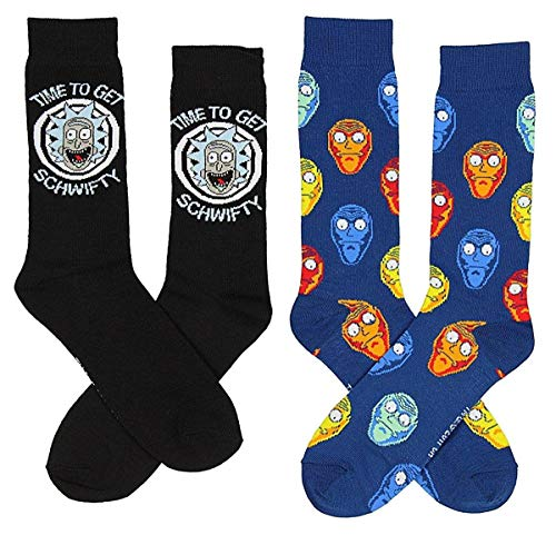 Rick And Morty Time To Get Schwifty Men's 2 Pack Crew Socks from RICK AND MORTY