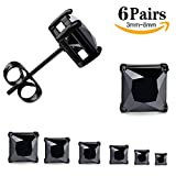 LOYALLOOK Unisex Stainless Steel Stud Earrings Set Posts Pierced Cubic Zirconia 6 Pairs 3-8mm Black