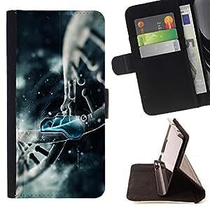 - BLUE MOLECULE DNA ART DRAWING STRUCTURE - - Prima caja de la PU billetera de cuero con ranuras para tarjetas, efectivo desmontable correa para l Funny HouseFOR Samsung Galaxy S4 IV I9500