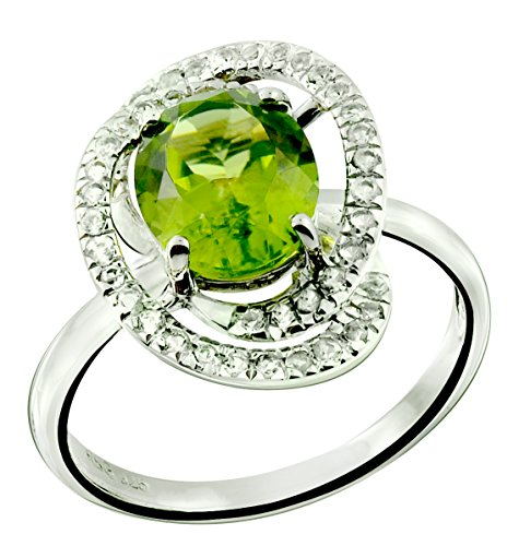 RB Gems Sterling Silver 925 Ring GENUINE GEMSTONE Oval 10x8 mm, Rhodium-Plated Finish, Solitaire Style (8, - Sterling Plated 8mm Peridot