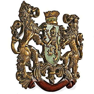 Design Toscano Heraldic Royal Lions Coat of Arms Medieval Decor Wall Sculpture, 30 Inch, Full Color