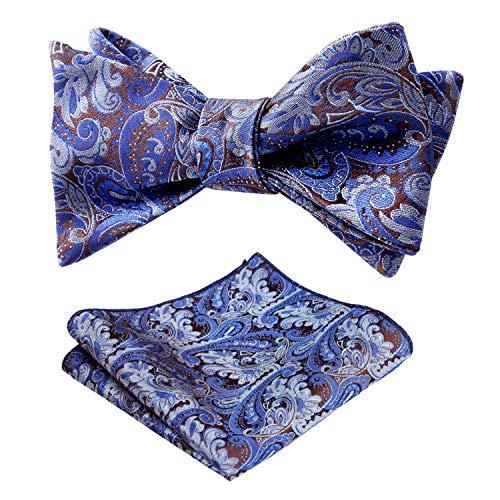 Alizeal Mens Paisley Jacquard Self Bow Tie Pocket Square Set, Royal Blue+Brown ()
