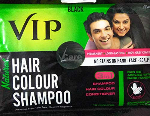 VIP 3 In 1 Hair Colour Shampoo (40 Ml) PACk Of 6 2021 July Leaves hair strong and beautiful Leaves hair strong and beautiful gentle formula that's suitable for everyday use Nourish and protect hair