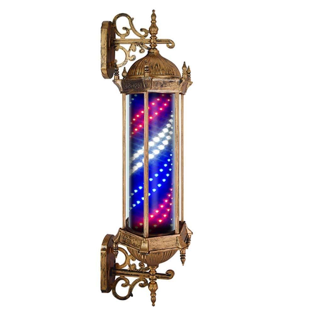 バーバーポール、屋外Ledヘア理髪店サロンバーバーショップサイン回転照明赤白青ストリップ、防水保存エネルギー B07S9BVCDW