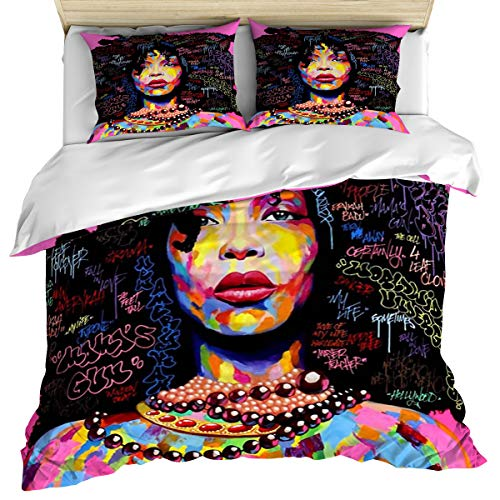 Luxury 3 Piece Bedding Set Twin Size, African Woman Face Painting 3PCS Zippered Microfiber Duvet Cover Comforter Cover Set Includes Quilt Cover, Pillow Cases for -