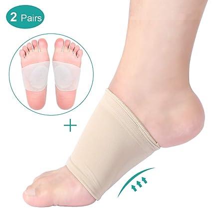Gel Arch Support Manga Fascitis plantar Vendas para la noche o el día, almohadillas de silicona para arco Plantillas ortopédicas Cojín para pies para ...