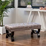 Great Deal Furniture Euler Grey Tufted Velvet Ottoman Bench Review