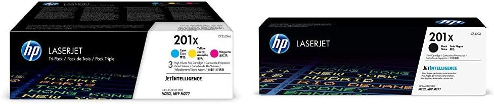 HP 201X Black High Yield and HP 201X High Yield Cyan/Magenta/Yellow Toner Cartridge Bundle (CF400X, CF401X, CF402X, CF403X) for HP Color LaserJet Pro M252dw, M277, M277c6, M277dw