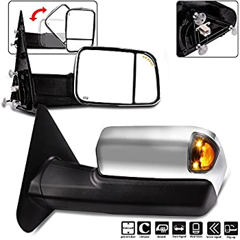 ECCPP Towing Mirrors for 2002-2008 Dodge Ram 1500 4.7L 5.7L 2003-2009 Dodge Ram 2500 3500 5.7L 6.7L Power Heated Signal Chrome Cover Side View Pair Mirrors