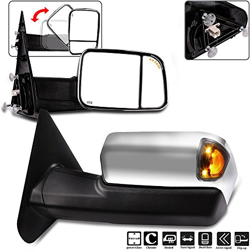 Towing Mirrors Eccpp High Performance A Pair Of Exterior Automotive Mirrors Replacement Fit For Dodge Ram 1500 2500 3500 2002 2008 With Power Operation Heated Arrow Signal Manual Flip Up Chrome Cover