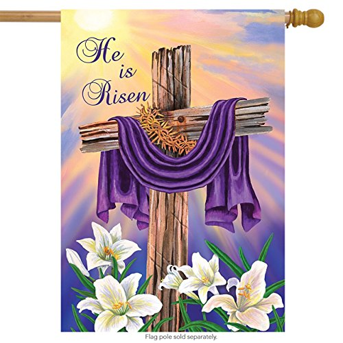 Briarwood Lane Easter Cross House Flag Religious Holiday He is Risen 28