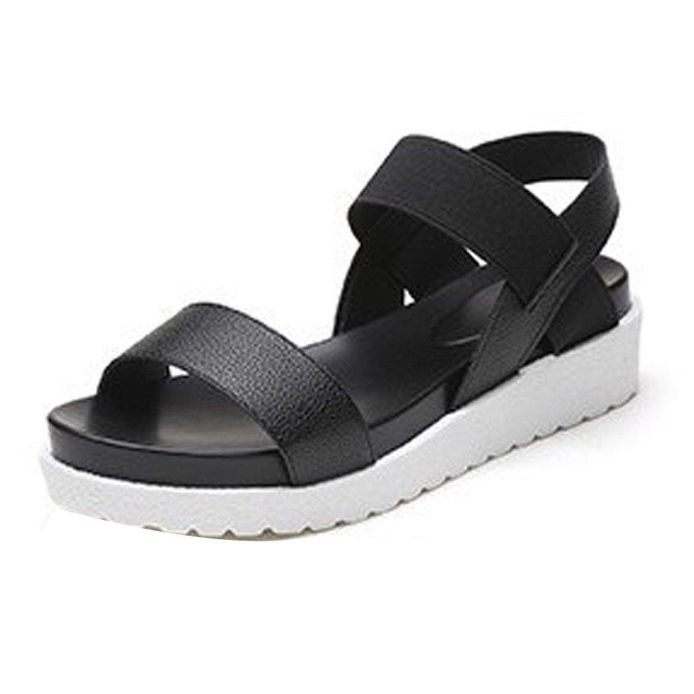 Sandalias Mujer Verano, Sandalias de verano de las mujeres zapatos Peep-Toe zapatos bajos sandalias romanas señoras flip flops LMMVP