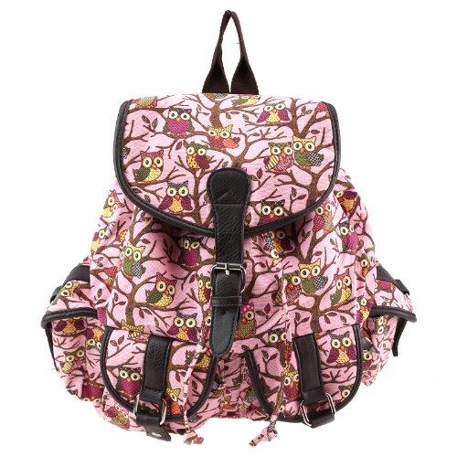 Anladia Nuevo Mochila Lona para Mujer Niña Bolsa de Viaje Bolso Color Rosa con Dijujo Búho: Amazon.es: Zapatos y complementos