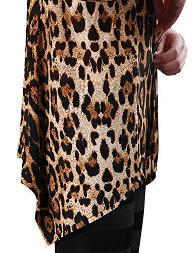Women K Leopard Cardigan Sleeves Allegra Front Long Prints Open zfCqaB