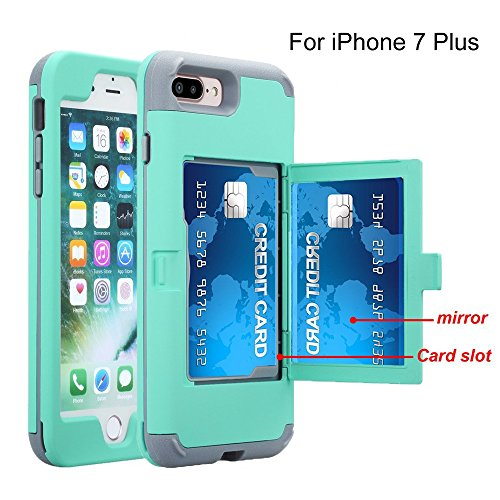 iPhone 7 Plus case, TOPBIN [Cosmetic Mirror] & [1 Card Slots] Hard PC+ Soft Silicone [3 in 1] Anti-Scratch Hybrid Full-Body Dual Protective Case for Apple iPhone 7 Plus/8 Plus (Aqua+Grey)