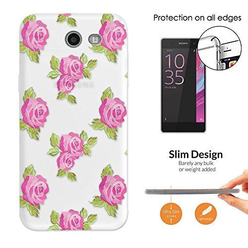 Beautiful Roses Wallpaper (c00595 - Beautiful Shabby Chic Pink Roses Wallpaper Collage Samsung Galaxy J7 (2017) CASE Slim Light All Edges Protection Cover)