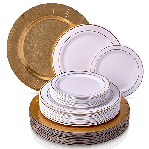 MODERN ELEGANT DISPOSABLE 60 PC DINNERWARE SET | Heavy Duty Plastic Dishes | 20 Chargers | 20 Dinner Plates | 20 Salad Plates | for Upscale Wedding and Dining | Golden Glare Collection (White/Gold)]()