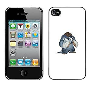 CASECO - iPhone 4 / 4S - Yeti Monster - Delgado Negro Plástico caso cubierta Shell Armor Funda Case Cover - Monster Yeti