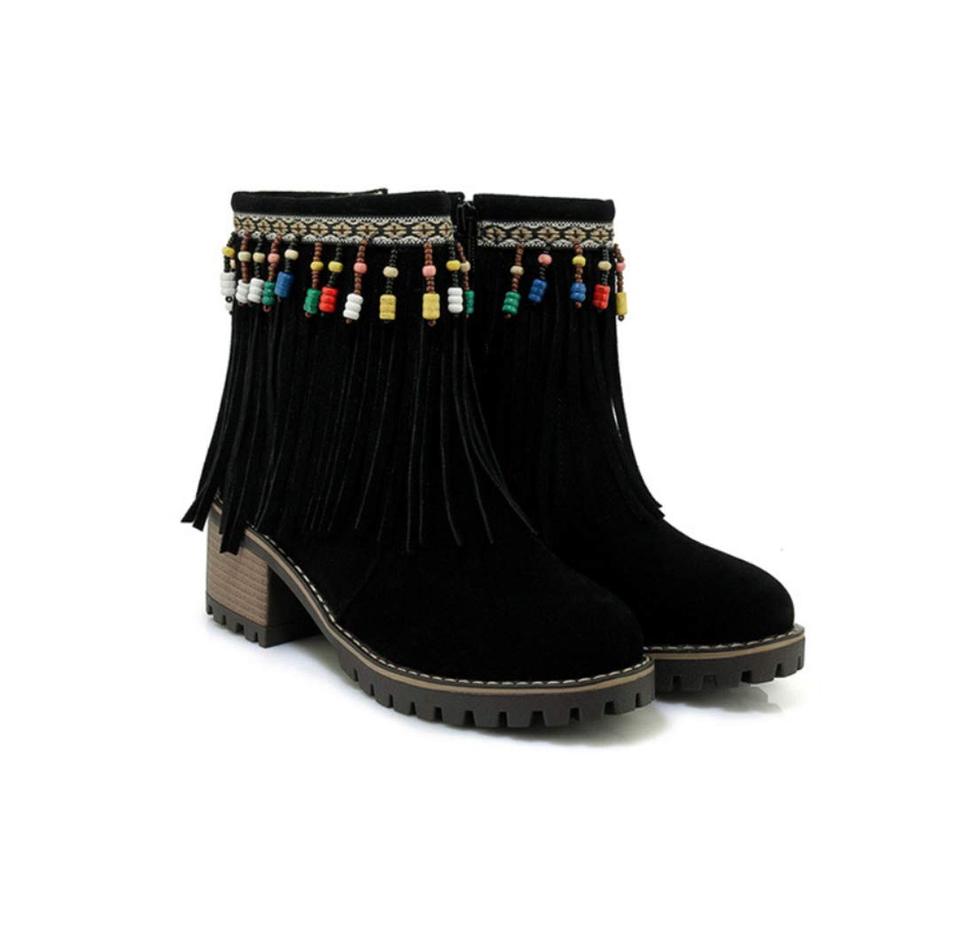 DANDANJIE Damen Stiefeletten Quaste Nationalen Stil Herbst & Winter Spitz Toe Stiefelies