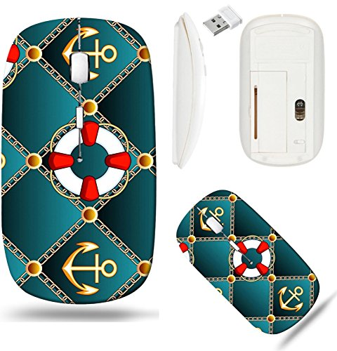 Liili Wireless Mouse White Base Travel 2.4G Wireless Mice with USB Receiver, Click with 1000 DPI for notebook, pc, laptop, computer, mac book ID: 27323515 Seamless upholstery pattern with lifebuoy and