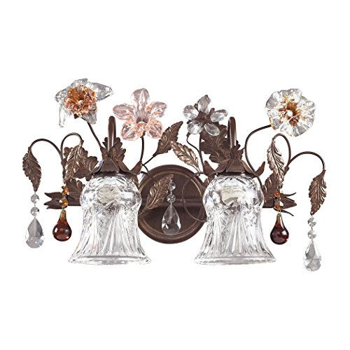 Elk Lighting 7040-2 Cristallo Fiore 2 Light Floral Bathroom Vanity Lighting Fixture, Deep Rust Bronze, Glass Florets with Amber and Clear Crystal, B12123 (Cristallo Fiore 18 Light)