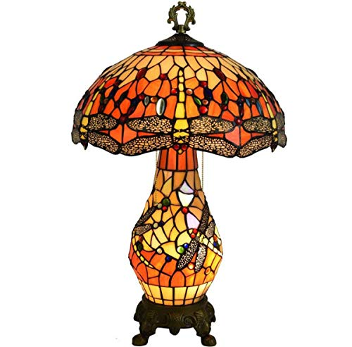Tiffany Style Dragonfly Table Lamp Vintage Stained Glass Shade Desk Lamp with Pull Chain and Lighted Base for Living Room Coffee Bedroom, 16