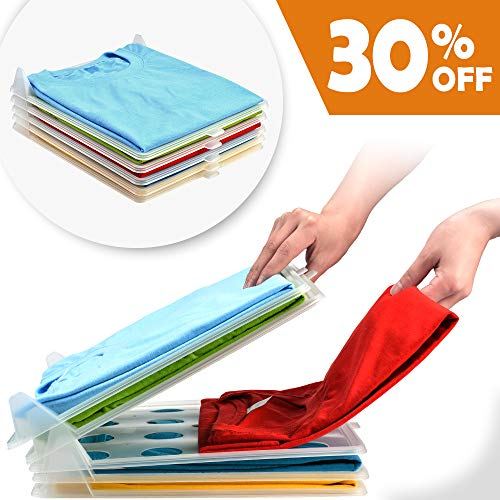 PetOde Closet Clothes Folder Organizer Shirt Folder Documents Dividers T-Shirt Organizing System 5 Pack