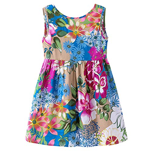 Toddler Baby Girl Dress Princess Floral Skirt Sveless Party Formal Dresses Girls Summer Clothes 1-7 Years Blue]()
