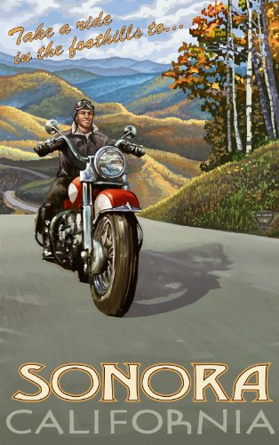Northwest Art Mall Take a Ride in The Foothills to Sonora California Motorcycle Rider Artwork by Paul A. Lanquist, 11-Inch by - The Mall Foothills
