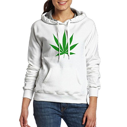 Cuihualili Cannabis Leaf Green Simple Pop Women's Long Sleeve Hoodies Sweatshirts With Pocket Cap