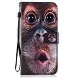 For iPhone 7 Plus Case,iPhone 8 Plus Holster, Ecoway Practical Multifunction Anti Scratch Flip Fashion Painted pattern design PU Leather Stand Function Card Holder and ID Slot Case Cover Protective Skin Cover for iPhone 7 Plus/8 Plus (5,5 zoll) - orangutan