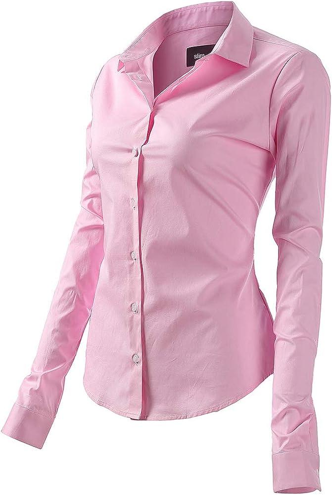 Harrms Blusa básica para mujer, entallada, de manga larga