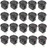 Gadgeter 20 Pcs DC 12V 20A Amps SPST On/Off/2 Position Terminal Round Rocker LED Toggle Switch Blue & Red With 60pcs Nylon Female Fully-Insulated Quick Disconnects Car Auto Boat Snap Switch