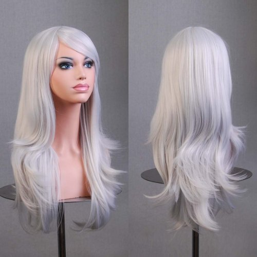 BERON Long Wavy Curly Wig High Standard Silk Female Cosplay Wig with Wig Cap (27'' Silver White)]()