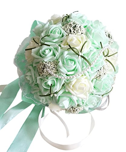 Wedding Bouquet Mint - MerryJuly Romantic Wedding Bride Holding Bouquet Roses with Crystal Ribbon Artificial Foam Flower Bouquet (Mint Green)