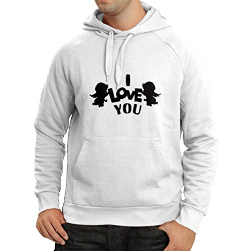 Hoodie Cupid angel say I love you quotes (Medium White Black)