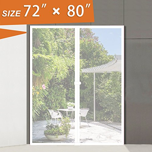 Magnetic Mesh Screen Door 72W x 80H MAGZO White Large Screen Doors Walk Thru Screen for French Door Fit Door Frame Size up to 70W x 79H Keep Fly Mosquito Bug Out