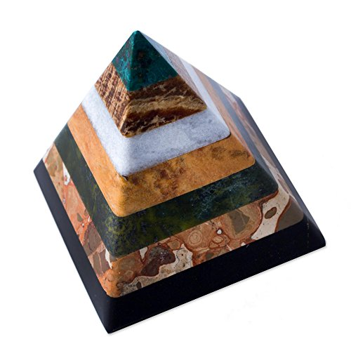 "NOVICA Hand Crafted Multicolor Natural Gemstone Geometric Positive Energy Spiritual Healing Pyramid Sculpture, 3"","