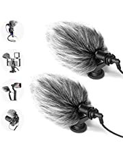 Neewer 2 Packs CM14 Mic Phone Mic on-Camera Video Microphone with Shock Mount, Windscreen and Audio Cables Compatible with iPhone, Android Smartphones, DSLR Cameras and Camcorders